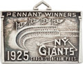 Baseball Collectibles:Others, 1925 New York Giants Silver Season Pass....