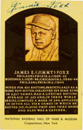 Autographs:Post Cards, 1960's Jimmy Foxx Signed Gold HOF Plaque Postcard....