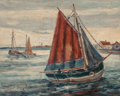 Maritime, PALMER C. HAYDEN (American, 1893-1973). Approaching thePort. Oil on canvas. 8 x 10 inches (20.3 x 25.4 cm). Signedlowe...