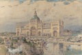 Works on Paper, CHILDE HASSAM (American, 1859-1935). The MacKaye Spectatorium with Iowa Pavillion in Foreground, Columbian Exposition, 1...
