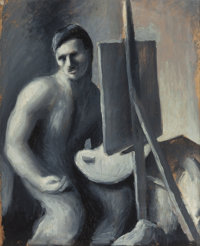 THOMAS HART BENTON (American, 1889-1975) Self-Portrait with Easel Oil on paper laid on board 11-7