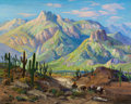 Western:Cowboy Artists, FRED GRAYSON SAYRE (American, 1879-1939). On the Cactus Trail. Oil on canvas. 40 x 50 inches (101.6 x 127 cm). Signed lo...