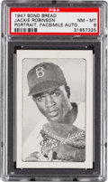 Baseball Cards:Singles (1940-1949), 1947 Bond Bread Jackie Robinson, Portrait, Facsimile Auto. PSANM-MT 8 - Pop Three, None Higher....