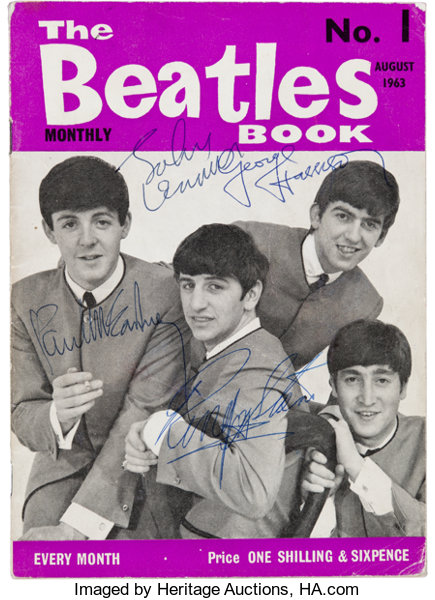 Music Memorabilia:Autographs and Signed Items, Beatles Signed The Beatles Book Monthly No. 1, August 1963...