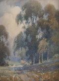 Fine Art - Painting, American:Other , PERCY GRAY (American, 1869-1952). Eucalyptus and Clouds.Watercolor miniature. 4 x 3 inches (10.2 x 7.6 cm). Signed lowe...