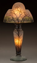 Art Glass:Daum, DAUM ETCHED AND ENAMELED GLASS RAIN LAMP. Circa 1900. EnameledDAUM, NANCY, with the cross of Lorraine. Ht. 14-1/4 in.. ...(Total: 2 Items)