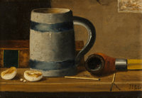 JOHN FREDERICK PETO (American, 1854-1907) Still Life with Mug and Pipe Oil on board 6-1/4 x 9 inc