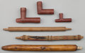 American Indian Art:Pipes, Tools, and Weapons, THREE PLAINS PIPE STEMS AND THREE PIPE BOWLS. c. 1890... (Total: 6Items)