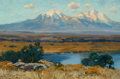 Fine Art - Painting, American:Modern  (1900 1949)  , CHARLES PARTRIDGE ADAMS (American, 1858-1942). Spanish Peaks,Colorado, 1911. Oil on canvas. 8-1/4 x 12 inches (21.0 x 3...