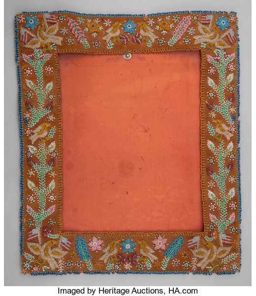 AN IROQUOIS BEADED CLOTH PICTURE FRAME. c. 1900... American Indian ...