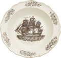 Antiques:Decorative Americana, Patriotic China: U. S. Ship Liverpool Bowl. ...