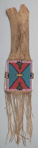 American Indian Art:Beadwork and Quillwork, A BLACKFOOT BEADED HIDE TOBACCO BAG. c. 1880...