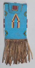 American Indian Art:Beadwork and Quillwork, A BLACKFEET BEADED HIDE BAG WITH FLAP. c. 1890...