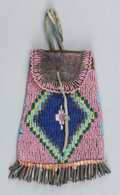 American Indian Art:Beadwork and Quillwork, A SIOUX BEADED LEATHER STRIKE-A-LIGHT POUCH. c. 1890...
