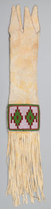 American Indian Art:Beadwork and Quillwork, A CREE BEADED HIDE TOBACCO BAG. c. 1890...