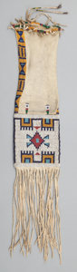 American Indian Art:Beadwork and Quillwork, A SIOUX BEADED HIDE TOBACCO BAG. c. 1890...