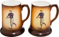 Football Collectibles:Others, Beautiful C. 1900 Football Player Pair of Porcelain Mugs...