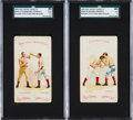 """Boxing Cards:General, 1893 N266 Red Cross """"Boxing Positions and Boxers"""" SGC Graded Pair(2). ..."""