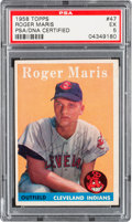 Autographs:Sports Cards, Signed 1958 Topps Roger Maris #47 Rookie PSA EX 5. ...