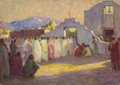 Fine Art - Painting, American:Modern  (1900 1949)  , JOSEPH HENRY SHARP (American, 1859-1953). Study for The SunsetDance, Taos. Oil on canvasboard. 9-3/4 x 13-3/4 inches (2...
