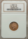 1869 1C PR64 Red and Brown NGC. NGC Census: (42/41). PCGS Population (80/42). Mintage: 600. Numismedia Wsl. Price for pr...