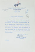 Autographs:Letters, 1959 Walter O'Malley Signed Letter Referencing Roy CampanellaNight....