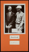 Baseball Collectibles:Others, Lefty Grove and Connie Mack Signed Cut Signatures Display....