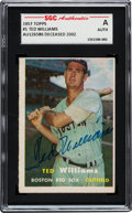 Autographs:Sports Cards, Signed 1957 Topps Ted Williams #1 SGC Authentic. ...