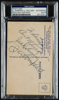 Boxing Collectibles:Autographs, Jack Dempsey and Jess Willard Multi Signed Postcard....