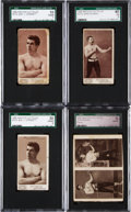 Boxing Cards:General, 1890's N310 Mayo Boxers Collection (8) Plus Rare Uncut Two-Card Panel. ...