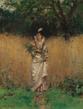 Fine Art - Painting, European:Antique  (Pre 1900), ADRIEN MOREAU (French, 1843-1906). Gathering Wild Flowers.Oil on canvas. 15-1/2 x 11-1/4 inches (39.4 x 28.6 cm). Signe...
