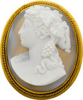 Estate Jewelry:Cameos, Victorian Hardstone Cameo, Gold Pendant-Brooch. ...