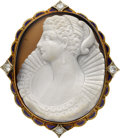 Estate Jewelry:Cameos, Victorian Hardstone Cameo, Diamond, Enamel, Gold Pendant-Brooch....