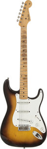Musical Instruments:Electric Guitars, 1957 Fender Stratocaster Sunburst Solid Body Electric Guitar, Serial # -22222....