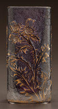Art Glass:Daum, DAUM ETCHED AND ENAMELED GLASS THISTLE VASE. Circa 1900. EnameledDaum, Nancy, with the cross of Lorraine. Ht. 4-1/2 in....