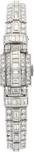 Estate Jewelry:Watches, Art Deco Omega Lady's Diamond, Platinum Covered Dial Wristwatch....