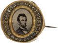 Political:Ferrotypes / Photo Badges (pre-1896), Abraham Lincoln: 1864 Slogan Ferrotype Badge....