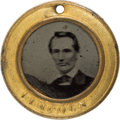 Political:Ferrotypes / Photo Badges (pre-1896), Abraham Lincoln: Lovely Back-to-Back Ferrotype Badge....
