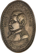 Political:Ferrotypes / Photo Badges (pre-1896), George B. McClellan: Silvered Brass Shell Badge....
