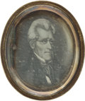 Political:Ferrotypes / Photo Badges (pre-1896), Andrew Jackson: Daguerreotype Brooch....