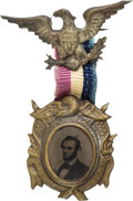 Political:Ferrotypes / Photo Badges (pre-1896), Abraham Lincoln: Desirable 1864 Ferrotype Badge....