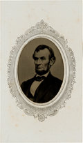 Political:Ferrotypes / Photo Badges (pre-1896), Abraham Lincoln: Large Tintype on Paper Mount....