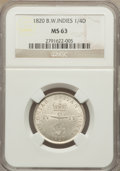 British West Indies, British West Indies: British Colony 1/4 Dollar 1820 MS63 NGC,...