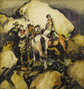 Illustration:Magazine, FRANK B. HOFFMAN (American 1888-1958). Riders in the Hills,c. 1930. Ink and watercolor on paper. 21in. x 19.5in.. Signe...
