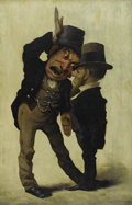 Illustration:Advertising, WILLIAM HUDSON (American b. 1787). A Political Debate Between Two Irishmen. Oil on canvas. 30in. x 20in.. Inscription on...