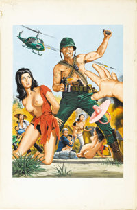 BRUCE MINNEY (American b. 1928) The Dink Patrol and the Love Slaves of Xuyan Than Phu, c. 1970 Gouache on board 22in