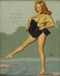 Illustration:Pin-Up, EARL MORAN (American 1893-1984) . Don't Hope For the Best, HopFor It!, c. 1950 . Oil on canvasboard . 20in. x 16in. . S...