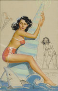Illustration:Pin-Up, KNUTE O. MUNSON (American 20th Century). Apparently, All Kindsof Buoys Are Dangerous, c. 1944. Mixed-media on illustrat...