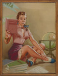 Illustration:Pin-Up, KNUTE O. MUNSON (American 20th Century) . Our Knowledge andExperience At Your Command, c. 1952 . Pastel on illustration...