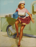 Illustration:Pin-Up, KNUTE O. MUNSON (American 20th Century) . Top Service isDelivered, c. 1949 . Pastel on illustration board . 32in. x24i...
